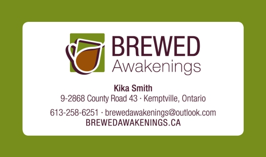Business card design for local coffee shop, Brewed Awakenings.