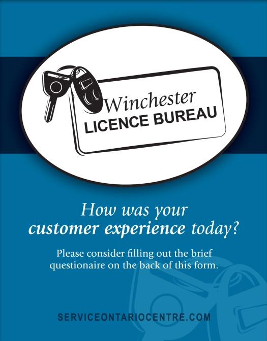 (Front) Customer feedback card for the Winchester Licence Bureau
