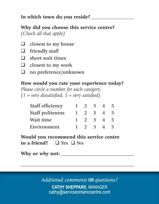 (Back) Customer feedback card for the Winchester Licence Bureau