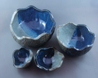Tulip nesting bowls, hand-built pieces (SOLD)