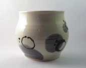 Small vase with dark grey and black design, can be used as handleless goblet or vase (SOLD)